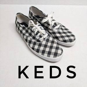 Keds Sneakers Black & White Checked Size 10 Plaid